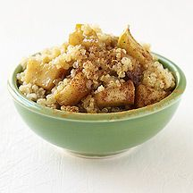Quinoa and Apple Breakfast Cereal  1 cup(s) uncooked quinoa     2 spray(s) cooking spray     1 Tbsp salted butter, divided     2 medium fresh apple(s), chopped or diced     2 cup(s) water, cold     1/2 tsp ground cinnamon     3 Tbsp packed brown sugar     1/4 cup(s) fat-free skim milk