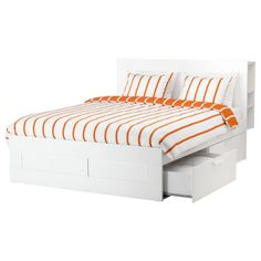 BRIMNES Bed frame with storage & headboard, white, Luröy, Queen. A bed frame with hidden storage in several places – perfect if you live in a small space. The BRIMNES series has several smart solutions that help you save space. Best Storage Beds, Bed Frame With Storage, Bed Storage, Storage Headboard, Extra Storage, Easy Storage, Bookcase Headboard, Storage Drawers, Storage Ideas