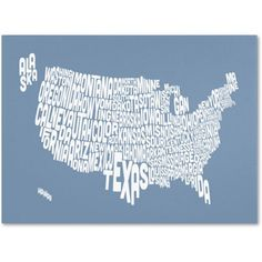 Trademark Art 'steel-USA States Text Map' Canvas Art by Michael Tompsett, Size: 16 x 24