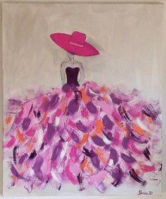 Tableau moderne femme robe coloree sur toile 55x46 peintures pinterest - Tableau couleur prune ...