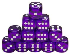 6-Sided Purple Dice, Transparent with White Dots