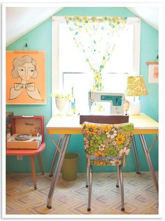 I love the mid century mix of this adorable sewing room... Especially the retro kitchen chair! I find single vinyl chairs a lot... I never know what to do with them. Now I'm thinking, desk chair!