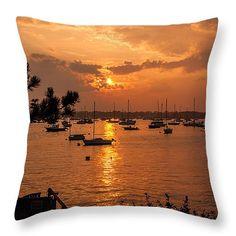 "Sunset on Salem harbor Throw Pillow 14"" x 14"" Salem harbor sunset seen from Marblehead shore"