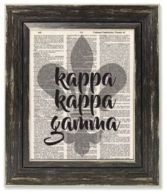 Kappa Kappa Gamma Sorority Dictionary Print- Big Little, Bid Day, Initiation Gift - Can Be Personalized by VintageBitsnPieces on Etsy https://www.etsy.com/listing/512749397/kappa-kappa-gamma-sorority-dictionary