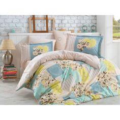 Dose Of Modern Rachele - Green Poplin Double Quilt Cover Set - Green Blue Yellow Cream Yellow Cream, Blue Yellow, Double Quilt, Single Quilt, Quilt Cover Sets, Poplin, Comforters, Duvet Covers, Blanket