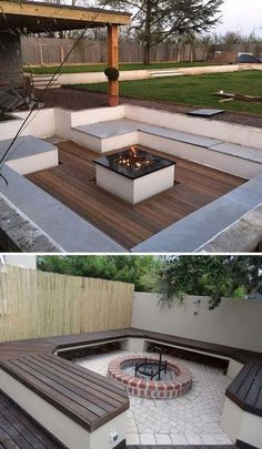21 awesome sunken fire pit ideas to spend the cozy nights . - 21 Awesome Sunken Fire Pit Ideas To Steal For The Cozy Nights – # awesome - Backyard Sheds, Backyard Patio Designs, Backyard Landscaping, Backyard Projects, Landscaping Ideas, Garden Fire Pit, Fire Pit Backyard, Sunken Fire Pits, Outside Fire Pits
