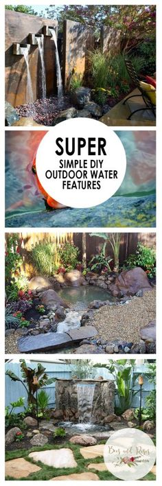Super Simple DIY Outdoor Water Features  Outdoor Water Features, DIY Outdoor Water Features, Outdoor Water Feature Projects, DIY Garden, DIY Garden Projects, Outdoor Home Hacks, Gardening, Gardening DIY