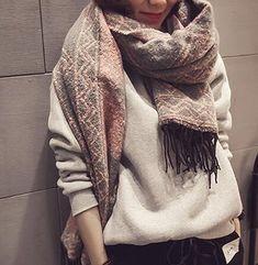 Beatayang D écharpe de châle Cozy Blanket pour femmes Lady (Noir)   Amazon.fr  Vêtements et accessoires f58a4e014d9