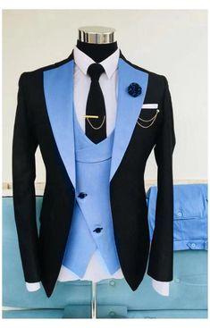 Tuxedo Suit For Men, Mens Suits, Groom Suits, Formal Men Outfit, Men Formal, Formal Prom, Formal Wear, Cool Shirts For Men, Blue Tuxedos
