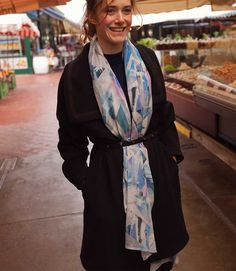 15.20 Miriam Stein strolling around Vienna Naschmarkt for some afternoon treats - wearing the A Day in a Life Navy Luxury Wool Coat with a Black Studded Leather Belt and the Blue Mountain Printed Silk Scarf