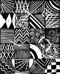 Grid lino print Art Print