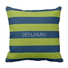 Navy Blue and Lime Green Rugby Stripes Custom Name pillow case 1616: Amazon.co.uk: Electronics