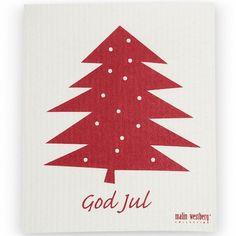 BinnenPret Wonen | KERST-PRET : Sponsdoekjes Kerstboom rood (2 st.)