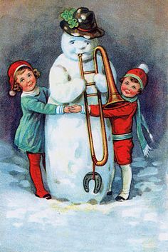 """From the SNOW PEOPLE collection by Darling & Company, Seattle, WA.    Snowmen first came on the scene, according Bob Eckstein, in his """"History of the Snowmen"""" in the 16th century. They became especially popular in the Victorian era. He writes, """"The picturing of snow people flourished in the penny-postcard era (1890-1920) when many thousands of cards were made."""""""