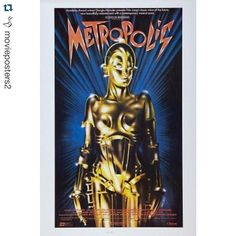 """#Repost @movieposters2 with @repostapp.  Metropolis (1926) movie poster  Drama / Sci-Fi  Director:  Fritz Lang  Stars:  Brigitte Helm Alfred Abel Gustav Fro""""hlich  Movie Info:  Metropolis is the city of the future which is divided into two parts. Underground there are worker's houses and machine area. In the upper town there are offices wealthy neighborhoods and gardens of entertainment. All power belongs to the city magnate Johann Fenderson. His son - Frieder guesses about the injustice…"""