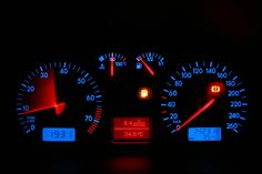 Photo about Car dashboard, red blue neon lights. Image of numbers, dial, auto - 1700094 Blue Neon Lights, Neon Lighting, Red And Blue, Dashboard Car, Stock Photos, Car Lights, Dodge, Social Media, Interior