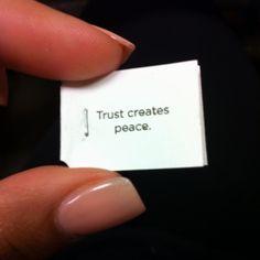 Trust creates peace