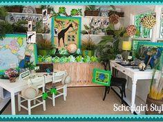30 Awesome Classroom Themes & Ideas For the New School Year – Bored Teachers Jungle Theme Classroom, Classroom Setting, Classroom Setup, Classroom Design, Classroom Displays, Future Classroom, Rainforest Classroom, Rainforest Theme, Classroom Environment