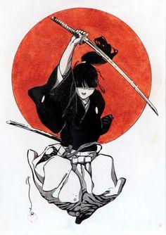 Keep calm watch tv series. and strike men Cool Art Drawings, Art Sketches, Aesthetic Art, Aesthetic Anime, Bushido, Female Samurai, Japanese Drawings, Japanese Artwork, Samurai Artwork