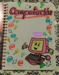 portadas manuales creativas de computacion - Buscar con Google Bullet Journal Student, Bullet Journal Notebook, Cool Paper Crafts, Diy Crafts, Project Cover Page, Front Page Design, Holiday Homework, Computer Projects, Notebook Art