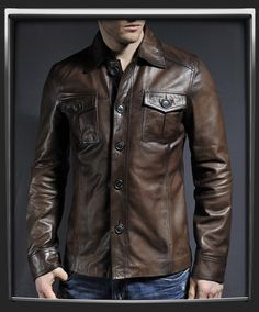 The Haymaker  1970s true vintage style leather jacket. 100% made in Italy. Antique Brown Italian nappa leather.