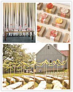 I just love the ribbon wall for a ceremony and/or photobooth backdrop