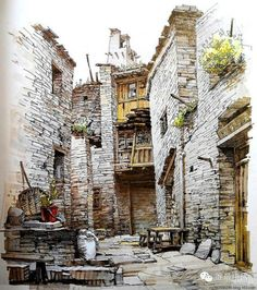 I'm loving how so many different styles come through in urban sketching. Pen And Watercolor, Watercolor Landscape, Watercolor Paintings, Building Drawing, Building Sketch, Watercolor Architecture, Architecture Drawings, Art Sketches, Art Drawings