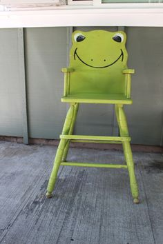 Refinishing an antique wooden high chair. Before and after. Old made new!