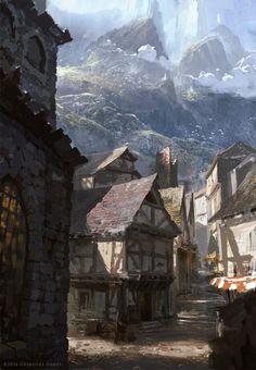 Michael Franchina Concept Art World Fantasy Village, Fantasy Town, Fantasy Magic, Medieval Fantasy, Fantasy World, Medieval Town, Medieval Houses, Medieval Times, Fantasy Rpg