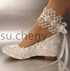 "Women's 2"" heel/ wedge white silk satin lace& pearl ribbon ankle Brides Shoes - Free Shipping"