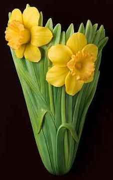 Jonquil Daffodil Wall Vase/Wall Pocket  -I'd LOVE this and have to have it if it had a wide base for stability.  its gorgeous!