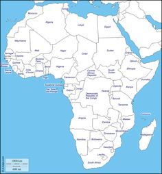 Africa : free map, free blank map, free outline map, free base map : states, names