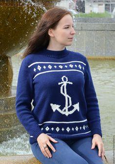 Купить Синий морской свитер с якорем - пуловер вязаный, пуловер, пуловер спицами, свитер