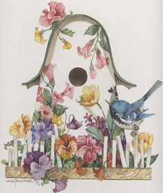 A 13 x 11 original watercolor on professional board by Carolyn Shores Wright featuring a bird, flowers and a bird house. This item is a part of her