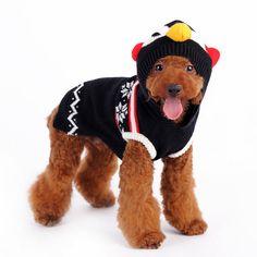 Penguin Hoodie Dog Sweater - Black   PupLife Dog Supplies