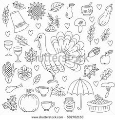 Thanksgiving harvest doodles turkey bird pumpkin leaves pilgrim hat honey