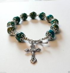 Genuine Turquoise Ocean Jasper Antique Silver Rosary Prayer Bracelet