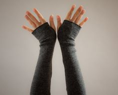 Fingerless Gloves in Charcoal Grey-Long Arm Warmers Winter-Fingerless Ladies Mittens-Handmade by MoonHalo