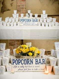 popcorn bar at wedding . and a root beer float bar Wedding Night, Wedding Reception, Our Wedding, Dream Wedding, Trendy Wedding, Wedding Decor, Wedding Popcorn Bar, Wedding Snacks, Party Planning