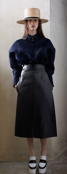 navy and a straw boater at Celine (prefall 2013)