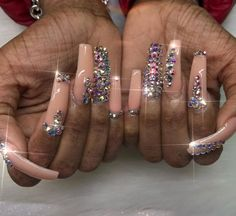 21 Elegant Nail Designs with Rhinestones - Amately Elegant Nail Designs, Toe Nail Designs, Beautiful Nail Designs, Acrylic Nail Designs, Nails Design, Dope Nails, Bling Nails, Gorgeous Nails, Pretty Nails