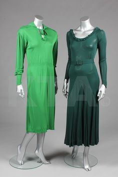 Emerald green jersey dress with shirred waist (left) and bottle-green jersey gown with Art Deco-style belt buckle (right), both by Jean Muir, British, mid- to Worn by Joanna Lumley. Jean Muir, 1970s Clothing, Vintage Style, Vintage Fashion, Jersey Dresses, Ladies Day Dresses, Joanna Lumley, Green Gown