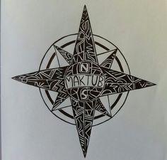 Rosa dos Ventos com inscrição - ideia para tattoo