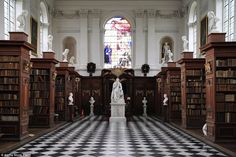 It is no surprise that The Wren Library at Trinity College in Cambridge is one of the most magnificent, as it was designed by Christopher Wren, who was also responsible for St Paul's Cathedral. It was completed in 1695 and contains many notable rare books and texts includingA. A. Milne's manuscript of Winnie the Pooh