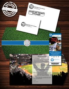 Our Deluxe Baseball Themed Wedding Invitation package takes on the form factor of a more traditional Wedding invitation with more personal accents. Includes ticket invitation with perforated RSVP stub. #baseballwedding  #stwdotcom