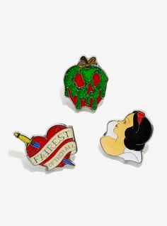 """Snow White could definitely rock a denim jacket, and with that adorable black bob, her lapel would definitely stand out - so we know she'd have some awesome pins on it! And this enamel pin set would definitely find its way onto her jacket, after all, they're all based on her awesome story!<div><ul><li style=""""list-style-position: inside !important; list-style-type: disc !important"""">Approx. 1""""</li><li style=""""list-style-positi..."""