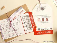 Invitación BODA Viaje. Con un pasaje de avión y una etiqueta gigante! | Wedding Invitations Travel