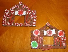 Homemade Craft Stick Gingerbread House Ornaments Easy Ornaments, Kids Christmas Ornaments, Preschool Christmas, House Ornaments, Primitive Christmas, Christmas Crafts, Xmas, Christmas Stuff, Christmas Ideas