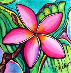 "Original: Commission Sold 6""x6"" Original Medium: Acrylic on canvas Description: Colorful image of a pink plumeria flower Availability: Sample of artist's work,"