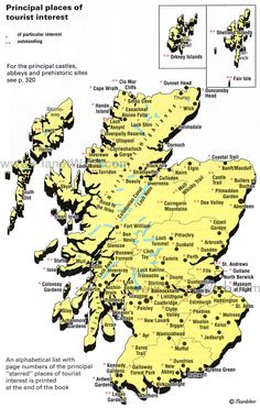 Map of Scotland - with Ayr, Kintyre, Loch Lomond, Arran, Isle of Skye and other Western Isles identified.